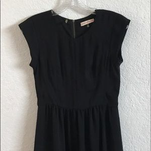 Rebecca Taylor Black Empire Waist Cap Sleeve Dress